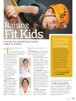 "Magazine spread titled ""Raising Fit Kids"""