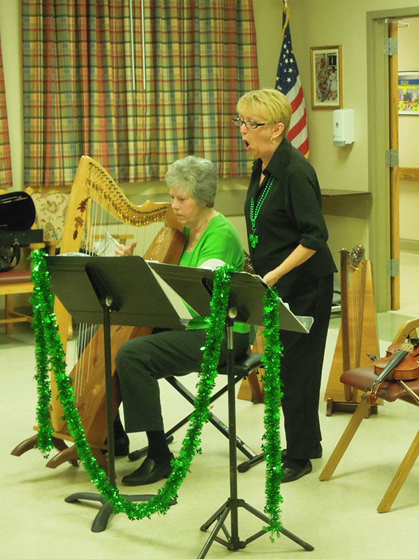 Harp Player at Senior Care Center-Brunswick St. Patrick's Day Celebration