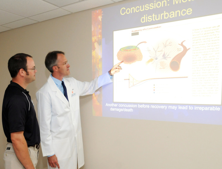 Dr. Sasser giving a concussion presentation