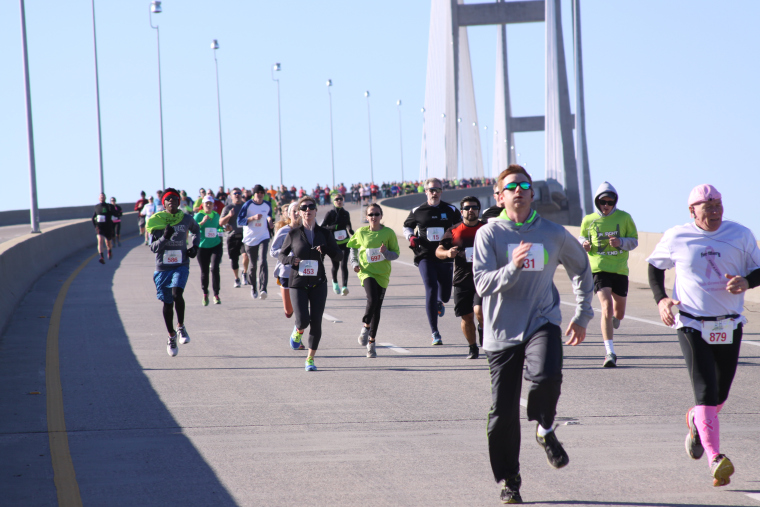 Runners finishing 5K Bridge Run