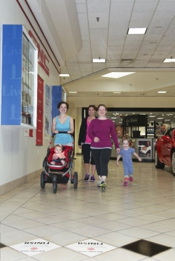women and children participating in the mall-walking program